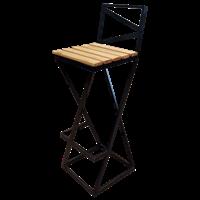 Барный стул Лофт с деревянным сиденьем