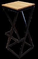 Барный табурет Лофт с деревянным сиденьем